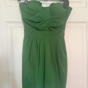 Strapless green dress, great for holiday parties